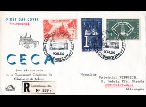 Luxemburg 552-554, 4 Jahre Montanunion kpl. auf Reko FDC
