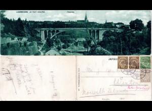 Luxemburg 1909, Panorama Klappkarte m. 3 Marken nach Neuseeland
