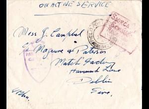 Irland 1944, FPO 842, Feldpost Brief m. irischer Zensur Released By Censor