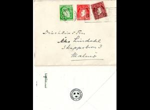 Irland 1938, 1/2+1+1 1/2 P. auf Konsulats Brief v. Dublin n. Schweden