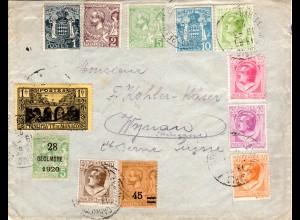 Monaco 1925, 12 Marken auf Brief i.d. Schweiz m. Stpl. Gare De Monte Carlo