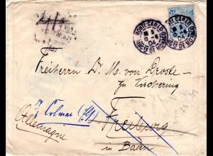 Monaco 1904, 25 C. auf Nachsende Brief v. Monte Carlo n. Deutschland