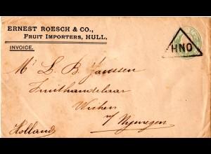 GB 1907, 1/2d Privat Ganzsache Brief v. Hull m. Stpl. HNO n. NL