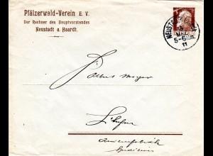 Bayern 1912, 3 Pf. Pfälzerwald Verein Privat Ganzsache Brief v. K1 Neustadt