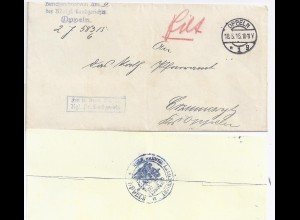 DR 1915, Oppeln Schlesien, Brief Frei lt. Avers No. 21 Pr. Landgericht. #728