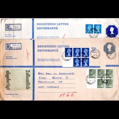 GB, 2 Size K Einschreiben Ganzsachen Briefe m. Zusatzfrankatur v. Brighouse