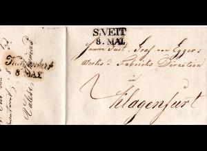 Österreich 1839, klarer Kärnten-L2 S:VEIT auf Porto Brief n. Klagenfurt