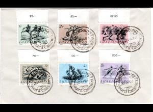 Luxembourg 1952, Sportsatz m. 6 Werten kpl. auf FDC