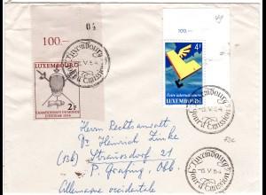 Luxembourg 1954, 2 Eckrandstücke Fechten u. Int. Messe, Brief m. Ersttagsstempel