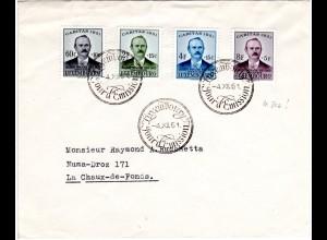 Luxembourg 1951, Caritas kpl. auf Brief m. Vorersttagsstempel 4.XII.! Vor FDC!