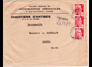 Frankreich 1948, 3x3 F. auf Umschlag Constructions Aéronavales v. Antibes