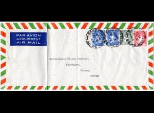 Irland 1946, 4 Marken auf Luftpost Brief nach Norwegen.