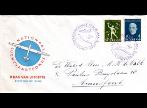 NL 1954, Jugend u. Luftfahrt kpl. auf FDC