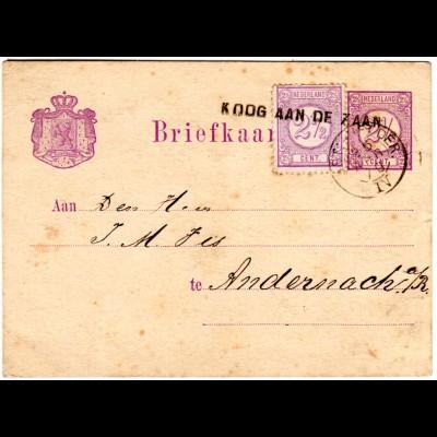 NL 1879, Bahnpost AMST.-HELDER. IV u. L1 KOOG AAN DE ZAAN auf Ganzsache m.Zusatz