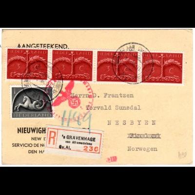 NL 1943, 1+4x3 C. auf Einschreiben Zensur Karte v. s´Gravenhage n. Norwegen