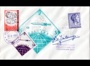 NL 1961, ungez. Raketenpost Marke auf Luxemburg Brief m. Unterschrift de Bruijn