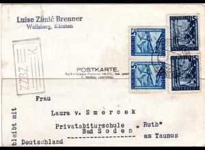 Österreich 1947, je Paar 3+15 G. auf Karte v. Wolfsberg m. brit. ZZBZ Zensur