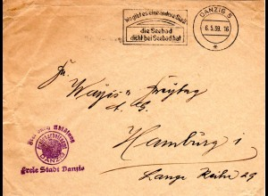 Frei durch Ablösung Freie Stadt Danzig auf Brief m. Werbestpl. nach Hamburg