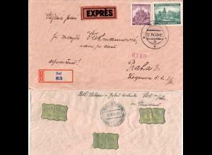 Böhmen u. Mähren 1940, 5 Kr.+60 H. auf Einschreiben Express Brief v. SEC