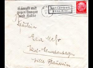 DR 1933, Landpost Stpl. LUTTERBEK über Kiel auf Brief m. 12 Pf.