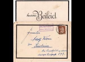 DR 1944, Landpost Stpl. ALLENDORF über Weilburg auf Trauer Brief m. 3 Pf.