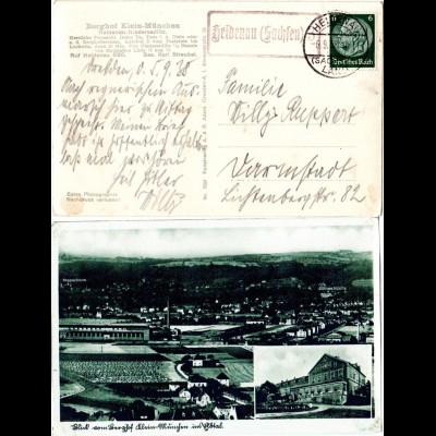 DR 1938, Landpost Stpl. HEIDENAU (Sachsen) 3 auf AK Klein-München m. 6 Pf.