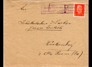 DR, Landpost Stpl. EDLE KRONE Tharandt Land als Entwertung auf Brief m. 12 Pf.