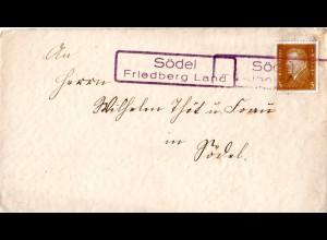 DR, Landpost Stpl. SÖDEL Friedberg Land als Entwertung auf Brief m. 3 Pf.