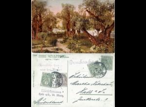 Palestina 1913, 3x1+2 C. franz. Post auf Garten Gethsemane Farb-AK v. Jerusalem