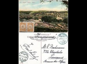 Palestina 1912, Paar 5 P. Türkei auf Hebron Farb-AK m. Stpl. BETHLEEM i.d. CH