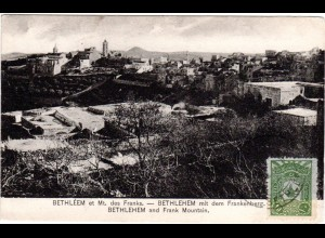 Palestina 1912, 10 P. Türkei bildseitig auf sw-AK Frankenberg m. Stpl. BETHLEEM