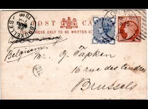 GB 1886, 1/2d Zusatz auf Ganzsache m. Hoster Maschinenstpl. v. London n. Belgien