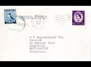 GB 1965, Lundy 1 P. in MiF m. GB 3d auf Karte v. Bideford