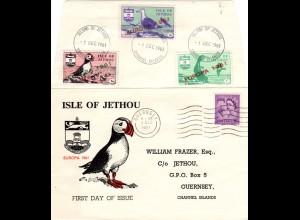 GB 1961, 3 Jethou Europa Vogel Marken in MiF m. GB 3d auf Brief v. Guernsey