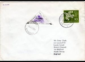 BRD 1961, 10 Pf. Europa auf Drucksache Brief m. Lundy Island Lokalmarke