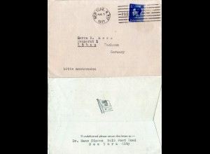 GB 1937, 2 1/2d auf Schiffspost Brief m. Maschinen Stempel New York Paquebot