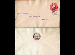 GB 1902, rücks. Zudruck Pemrose & Sons Ltd. Derby auf 1d Ganzsache Brief