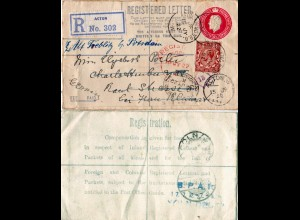GB 1922, uprated 4 1/2d regd stationery letter from Acton, redirected in Germany
