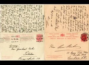 GB 1913, 1+1d Doppelkarte, zusammenhängend hin und her gebraucht London-Potsdam
