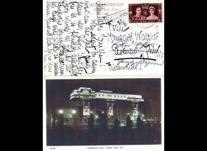 GB 1937, R1 PAQUEBOT u. Amsterdam Station auf Marble Arch Hotel AK m. 1 1/2d