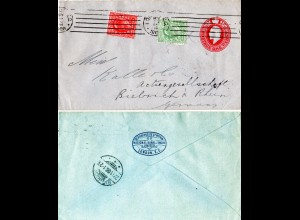GB 1906, 1d India Bank Privat Ganzsache Brief m. 1/2+1d v. London n. Deutschland
