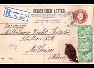 GB 1913, 3x1/2d Zusatzfrankatur auf Reko Ganzsache Brief v. London n. Mülheim