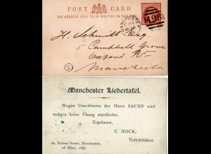 GB 1886, Manchester Liedertafel local used stationery card