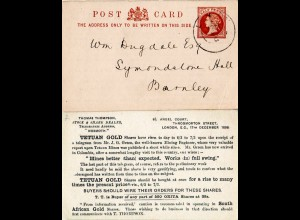 GB 1888, Tetuan Gold, South African Gold stationery card used from London