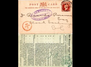 GB 1892, Namaqua Copper Company stationery card used in London