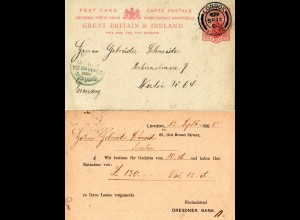 GB 1900, Dresdner Bank London stationery card used from London to Berlin
