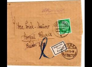DR 1935, 5 Pf. auf Drucksache Schleife v. Ludwigslust m. Schweiz Parti Kleber