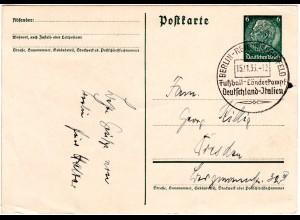DR 1936, SoStpl. Berlin Fussball Länderkampf Deutschland - Italien auf Ganzsache