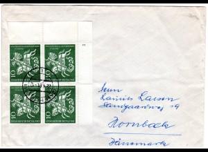 BRD 1961, MeF 4er-Block St. Georg auf Brief v. Husum n. Dänemark