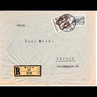 Österreich 1933, 1 S.+20 G.auf reko Brief v. Wien i.d. Schweiz